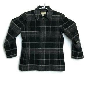 Eddie Bauer Plaid Wool Pea Coat Jacket